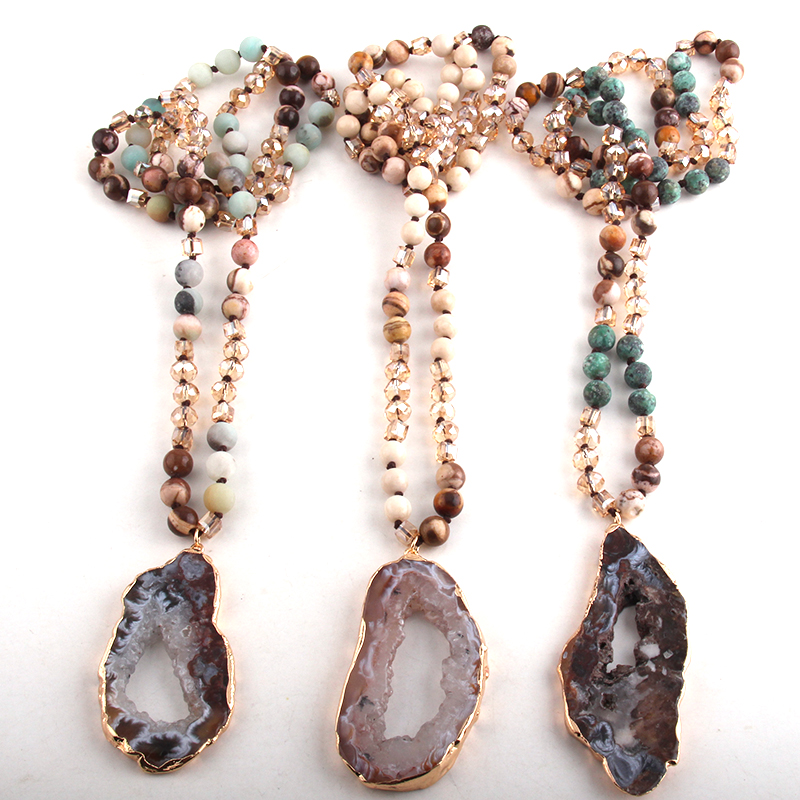 Fashion Bohemian Tribal Jewelry Crystal / Stone Long Knotted Irregular Druzy Stone Pendant Necklaces For Women
