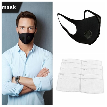 PM 2.5 Dust Masks Double Air Valve Anti Pollution Mask Dust Mask Anti-fog Activated Carbon Filter Flu-proof Mouth Mask Outdoor