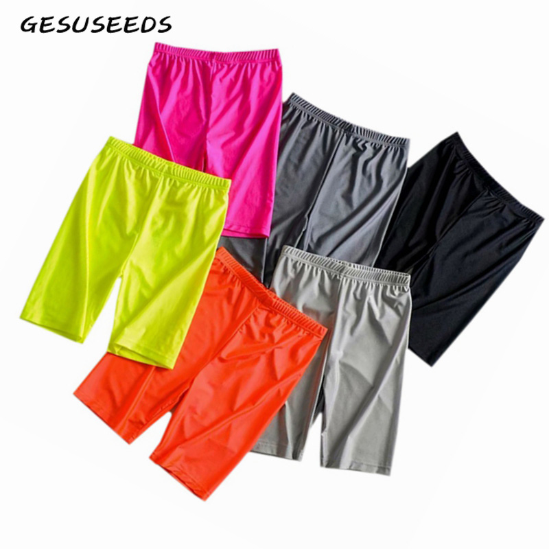 Neon green yellow biker shorts orange black high waisted shorts casual elastic shorts vintage khaki pink reflective short mujer 1