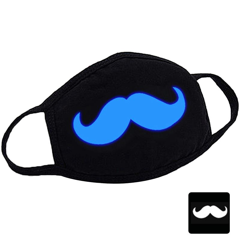 Cute Printing Mouth Mask Breathable Warm Glow In The Dark Anti-Dust Mask Mouth Cover Clothing Accessories Moustache Pattern