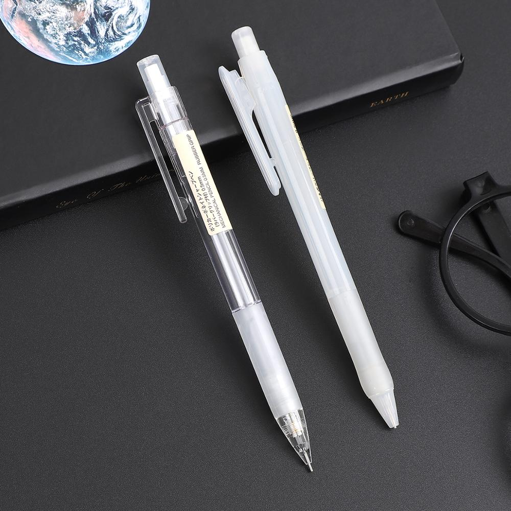 1pc Japan MUJI Mechanical Pencil Transparent White Press Clip 0.5 Mm Pencils Office Supplies School Stationery Potloden