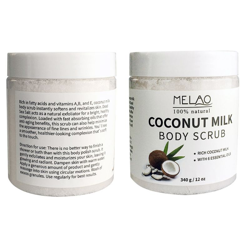 Coconut Milk Essential Oil Body Face Scrub Exfoliating Blackheads Sea Salt Natur