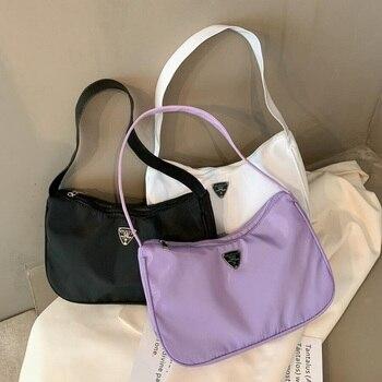 Fashion Women Handbag Nylon Simple Shoulder Shopping Bag Solid Pure Color Smooth Zipper Ladies Handbag Tote Bag  Women Bag цена 2017