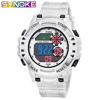 Relojes SYNOKE para deportes al aire libre relojes de pulsera digitales de escalada para hombres reloj de pulsera de esfera grande resistente al agua con alarma de impacto militar