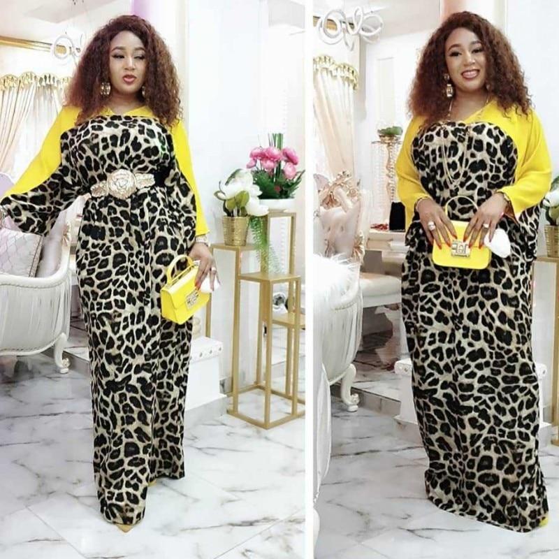 African Dresses For Women 2020 Dashiki Fashion Leopard Summer Dress Chiffon Patchwork Wide Hands Maxi Long Casual Vestidos