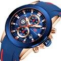 Minifocus moda relógio masculino à prova dwaterproof água novo multifunções esporte relógios de quartzo marca luxo silicone cinta relogio masculino