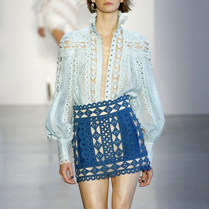 Femmes Designer Crochet Blouse chemise haute piste bleu évider col montant Rivets Sexy femmes chemises A12