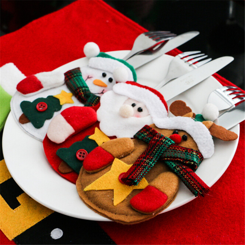 12pcs Snowman Santa Cutlery Suit Knifes Folks Bag Holder Pockets Table Dinner Decor Xmas New Year Christmas Decorations For Home-in Stockings & Gift Holders from Home & Garden