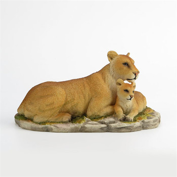 Lion Art Sculpture Lion and Cub Animal Figurine Statue Resin Crafts Home Decoration Creative Birthday Gift R4969