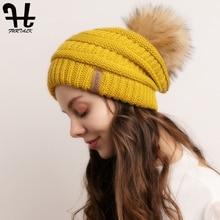 FURTALK Women Winter Hat Knitted Slouchy Beanie Faux Fur pompom Hats for Warm Skull Ski Cap Ladies 2019