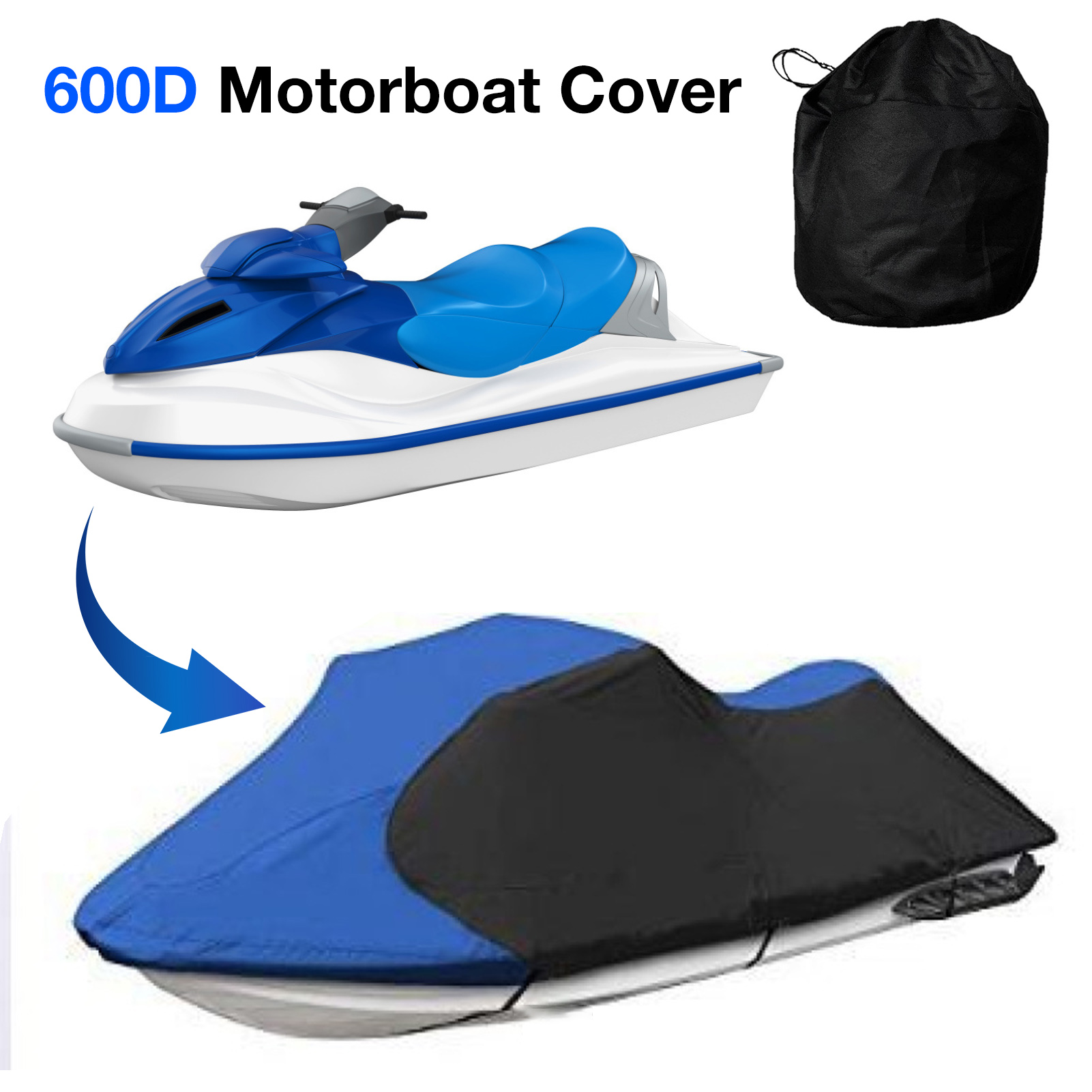 600D Motorboat Cover High-quality Durable Heavy Duty Waterproof Dustproof Sunscreen Anti-UV Boat Protector Boat Accessories