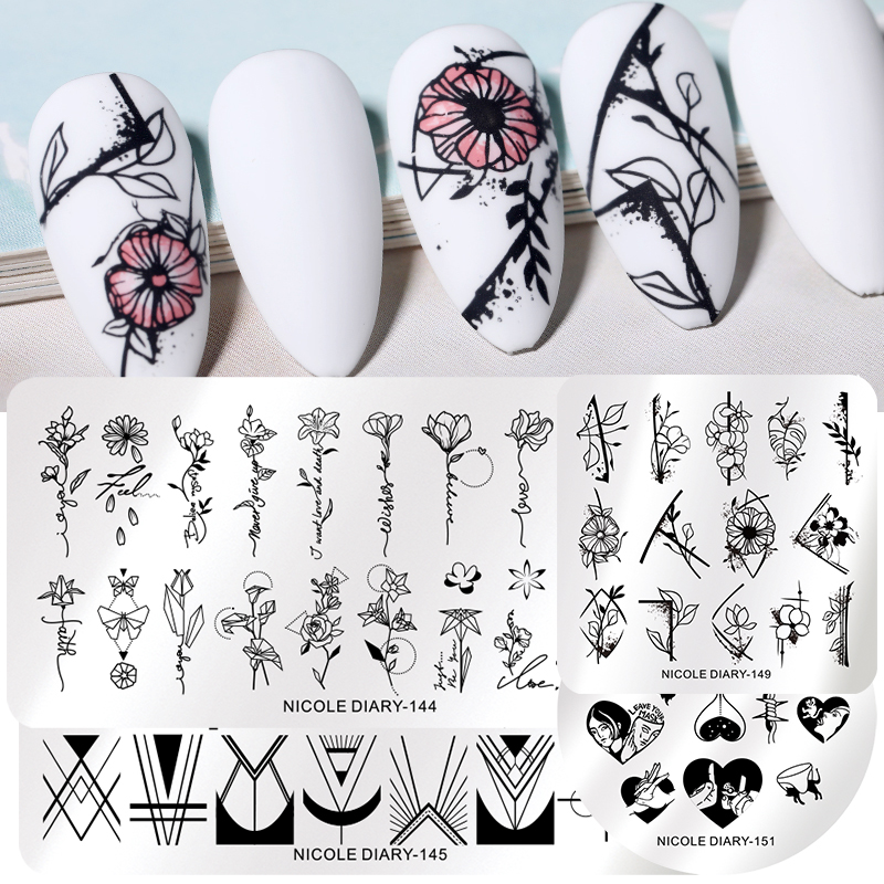 NICOLE DIARY Flower Line Image Stamp Plate Nail Art Stamping Templates Geometric Point Design Printing Stencil Transfer Tool