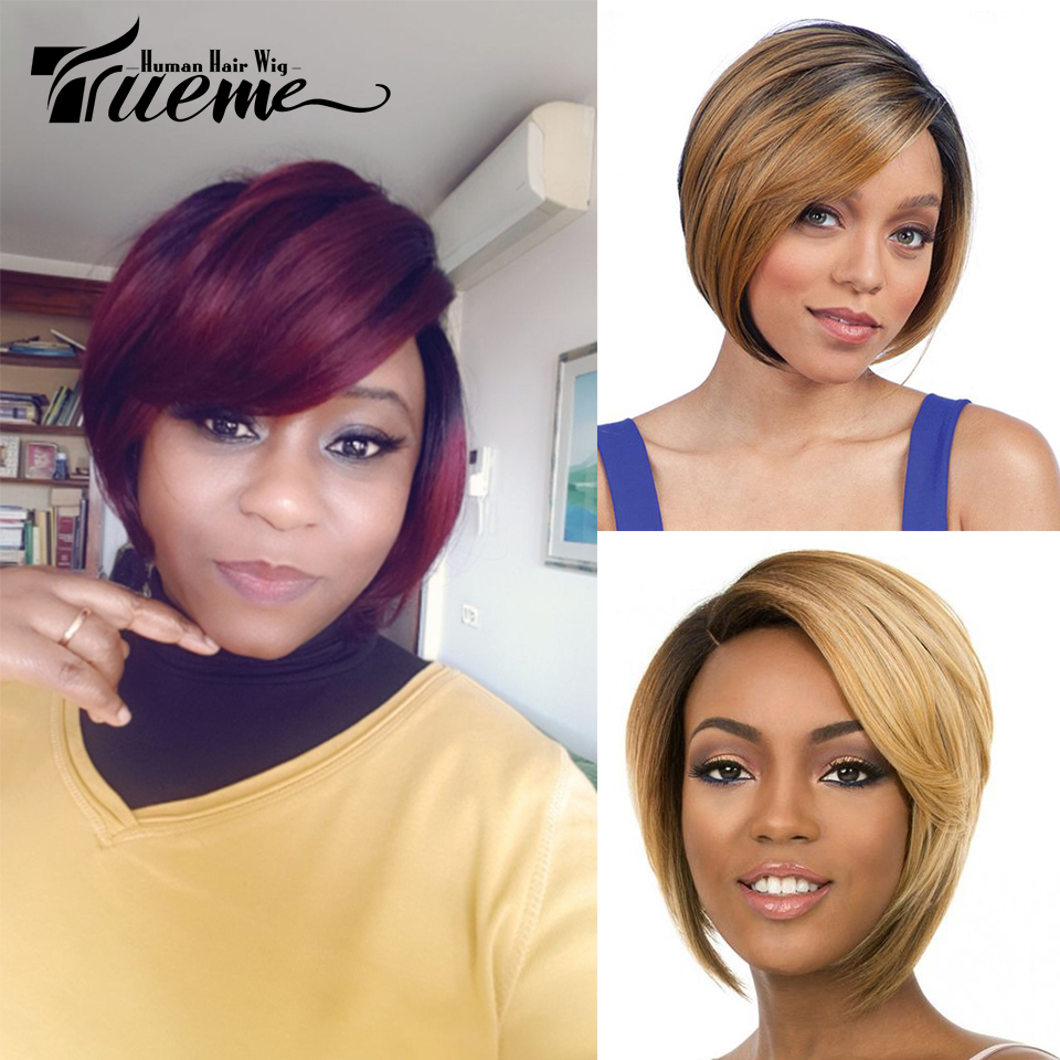Trueme Ombre Brown Red Color Short Human Hair Wigs Remy Brazilian Wavy Wave Bob Wigs For Black Women Pixie Cut Cheap Full Wigs
