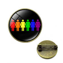 Rainbow LGBT Brooches Gay Lesbian LGBT Pins Rainbow Flag Bi Pride Brooch Glass Cabochon Jewelry Dropshipping Gifts for Women(China)