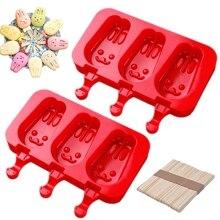 Домашние силиконовые формы для мороженого с крышкой, палочка от мороженого, 3x силиконовые полости для льда с 100x деревянными палками, набор из 2(R