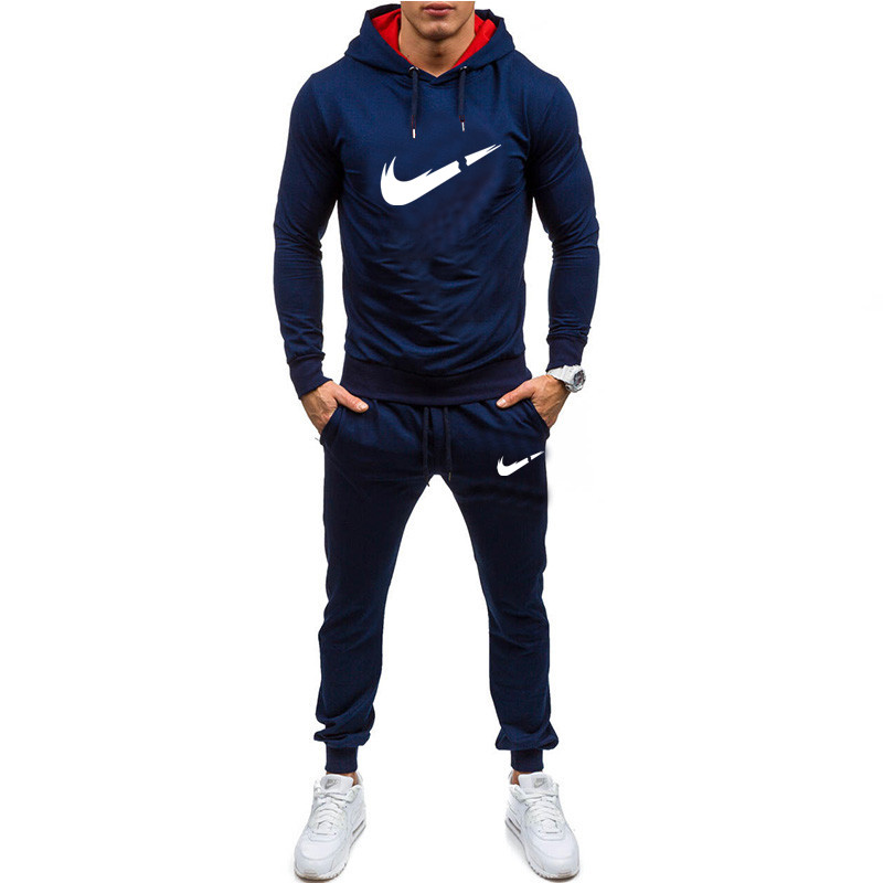 Brand 2019 New Men Printed Set Causal Patchwork Jacket Men 2Pcs Tracksuit Sportswear Hoodies Sweatshirt Pants Suit