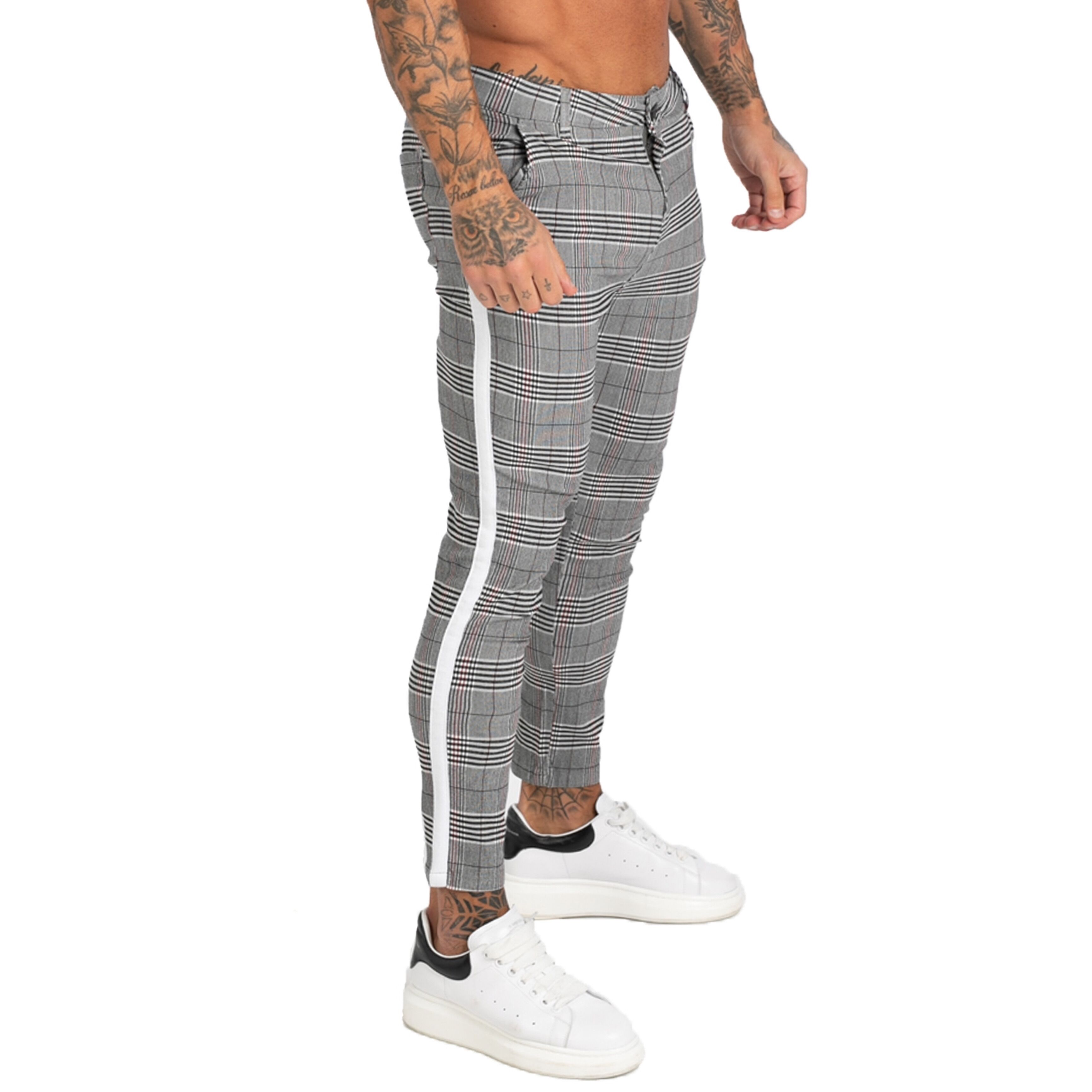 GINGTTO Mens Jeans Brand Chinos Trousers Grey Plaid Skinny Pants For Men Side Stripe Stretchy Best Fitting Athletic Body Zm355