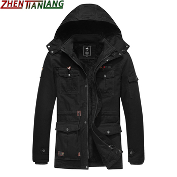 Medium length hooded Multi Pocket Plush warm windproof cotton padded jacket large loose military tooling zipper