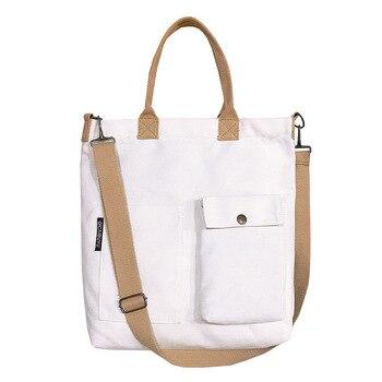 KANDRA New Canvas College Student Wild Messenger Bag for Women Reusable Eco Friendly Tote Bag Books Canvas Crossbody Fabric Bag