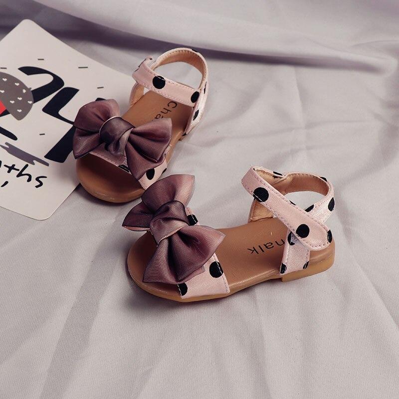 ULKNN Fashion Leather Children Shoes  Bowtie Toddler Kids Soft Bottom Polka Dot Sandals Princess Girls 6M 9M 12M 18M 2 3 4 Years