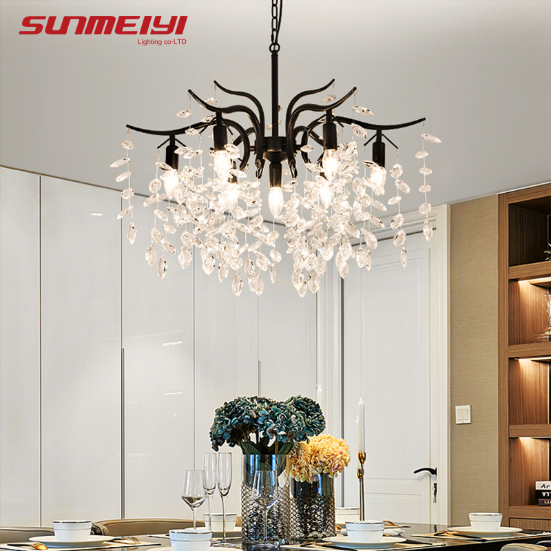 LED nordique lustres en cristal or noir lustre éclairage de luxe cuisine salle à manger salon chambre lampe lustre pendente - 4