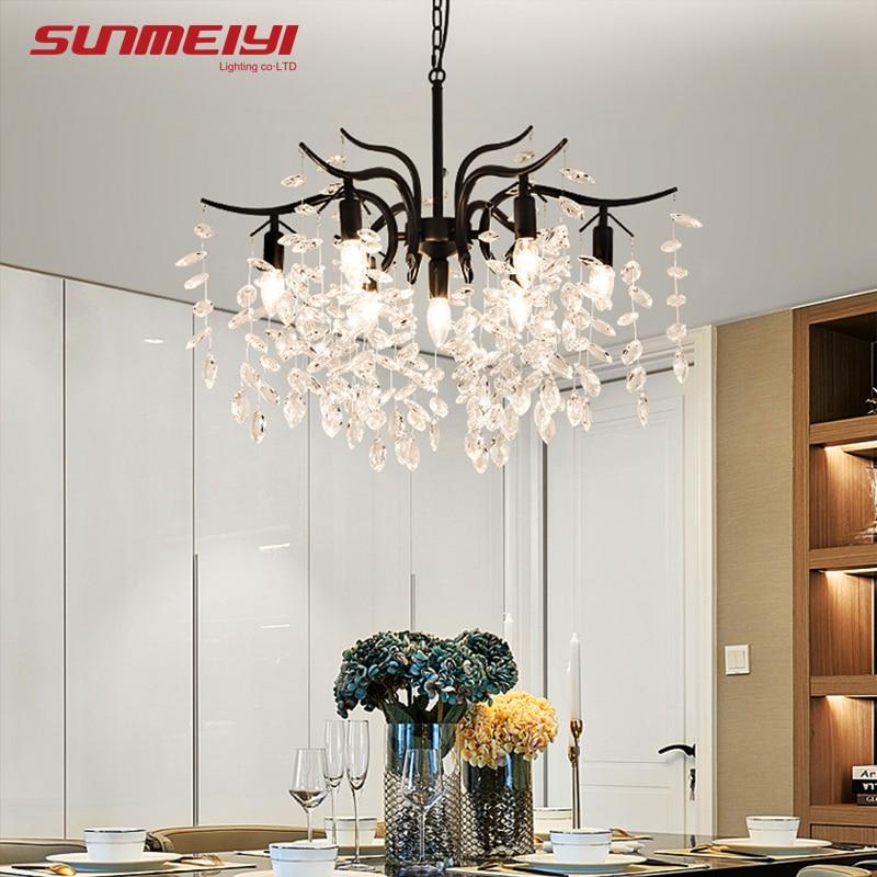 Nordic LED Crystal Chandeliers Gold Black Chandelier Luxury ...