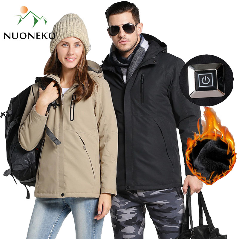 Hommes femmes hiver épais USB chauffé coton randonnée vestes extérieur imperméable coupe-vent Camping Trekking escalade ski manteaux
