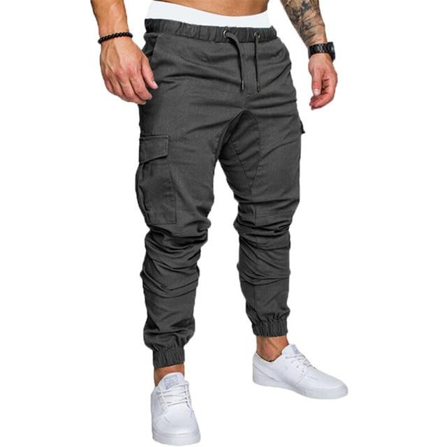 Hip Hop Joggers Pants New Male Multi-pocket Cargo Pants Skinny Fit Sweatpants 3