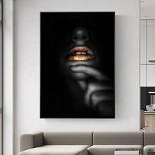 Toile avec lèvres dorées Sexy pour décor de maison, affiches et imprimés