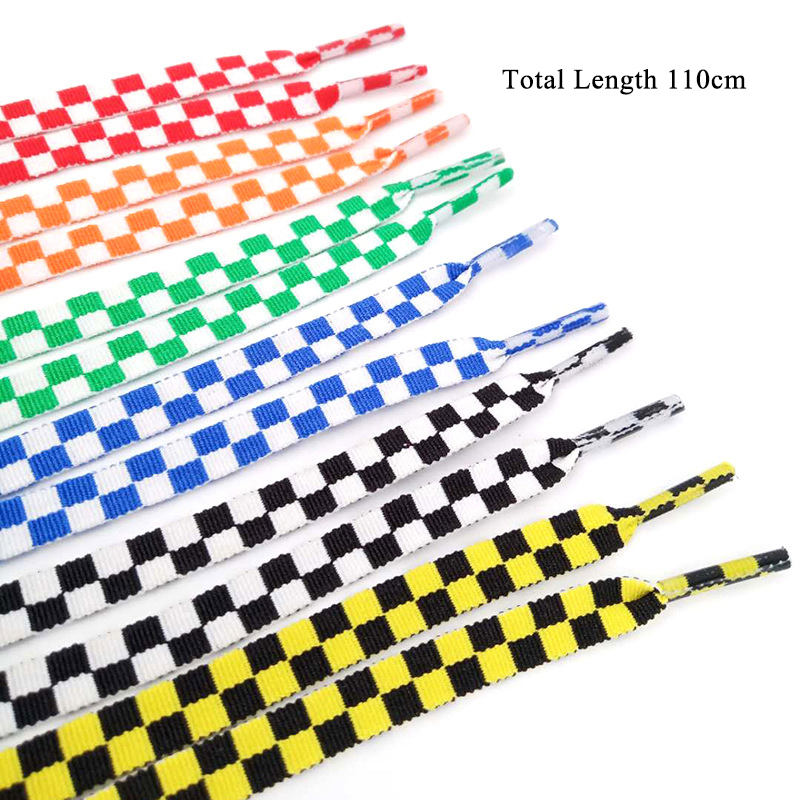 110cm 1pair Shoelace Fashion Sneaker Shoe Lace Colors Checkered Grid Flat Shoelaces Shoestring Printing Ribbons Shoelaces Lacing