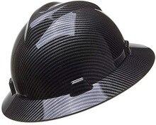 Защитный шлем из углеродного волокна, Мужская Защитная шляпа с широкими полями, анти-разбивающая противоударная конструкция, черная/синяя ...