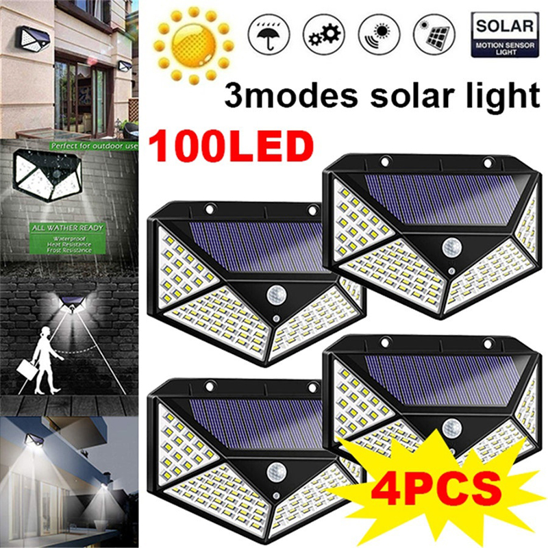 100 LED Solar Light Outdoor Garden Wall Lamp Powered Sunlight Waterproof Motion Sensor Street Light For Garden Decoration