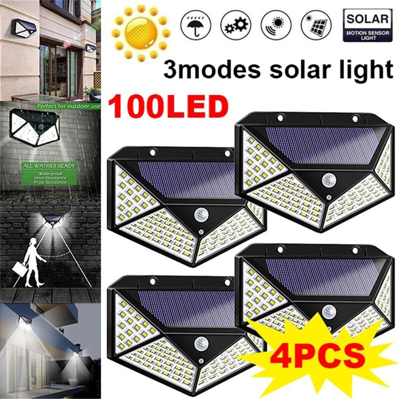 100 LED Solar Light Outdoor Garden Wall Lamp Powered Sunlight Waterproof Motion Sensor Street Light For Garden Decoration