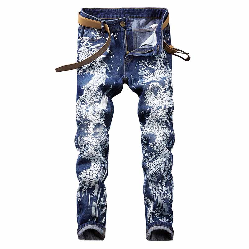 KIOVNO Men's Painted Casual Denim Pants Dragon Printed Jeans Pants For Male Hip Hop