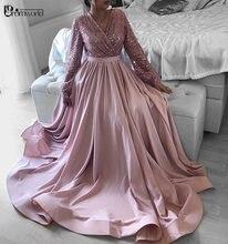 Женское вечернее платье с длинным рукавом розовое v образным