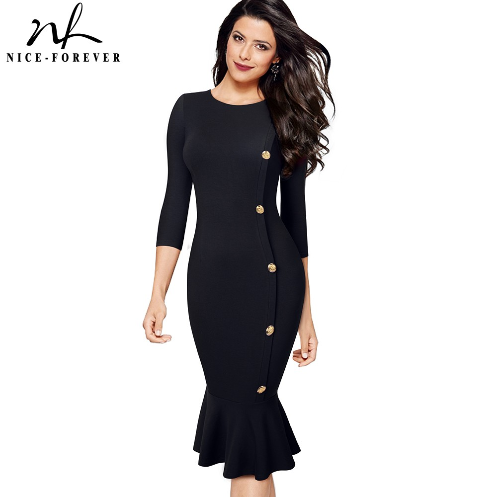 Nice-forever Elegant Vintage Pure Color Work Mermaid Button Vestidos Business Party Office Bodycon Sheath Women Dress B492
