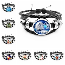 2019 Best Selling The Latest Snow Tree Santa Claus Series Glass Cabochon Fashion Leather Mens Bracelet Jewelry Gift