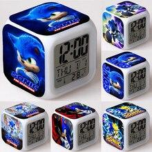 Sonic Figure Toys Cool Figurine LED Alarm Clock Light for Children Kids Birthday Gift Toys Dolls