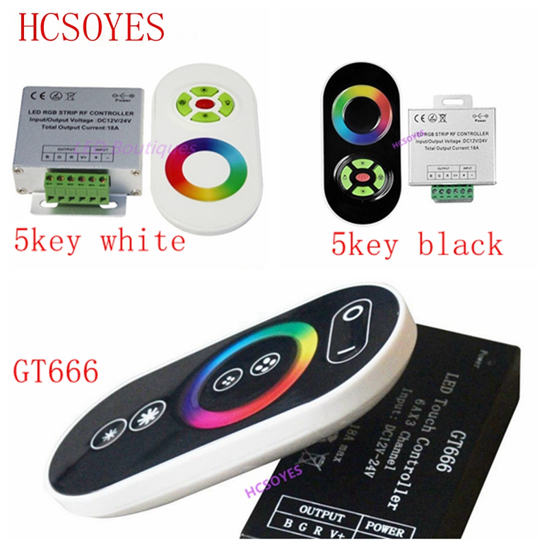 DC12V-24V GT666 5key Wireless RF Touch Panel Dimmer RGB Remote Controller 18A RGB Controller For 3528 5050 RGB LED Strip