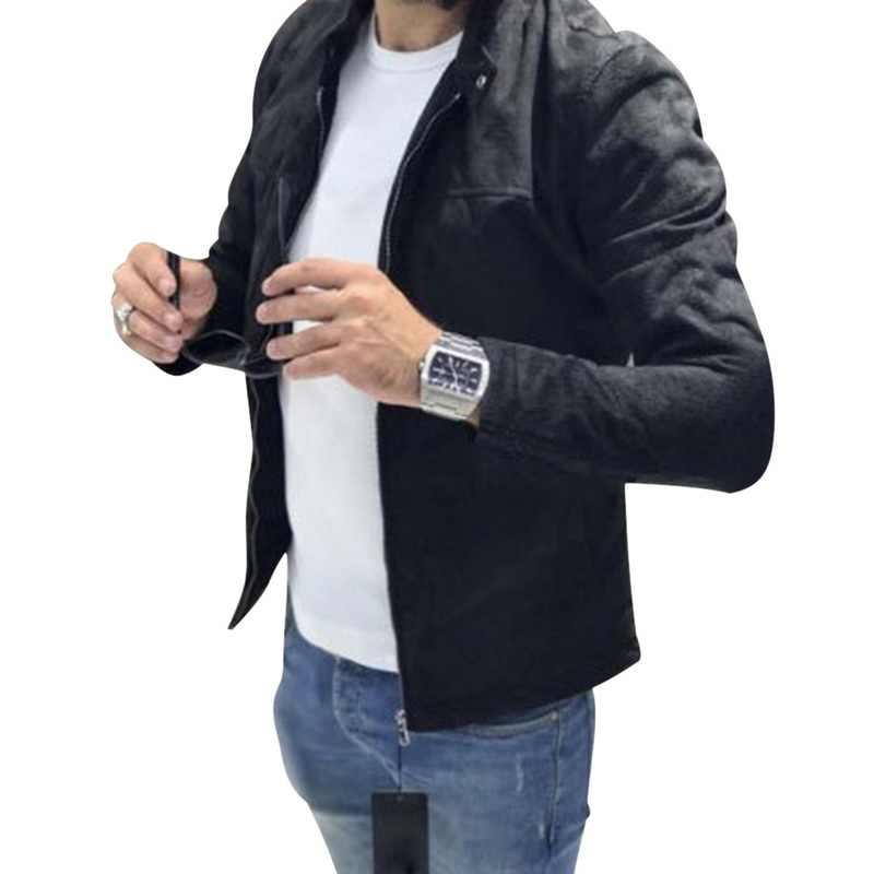 Yeni Erkek Moda Sonbahar kış sıcak Katı Polar Ceketler Giyim 2019 Vintage Standı Yaka Fermuar Cepler Casual Slim Fit Ceket