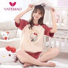 YATEMAO 2PCS/SET Sleepwear Maternity Nursing Pajama Set Clothing Pregnancy Clothes Short Sleeve Pyjama Women Red