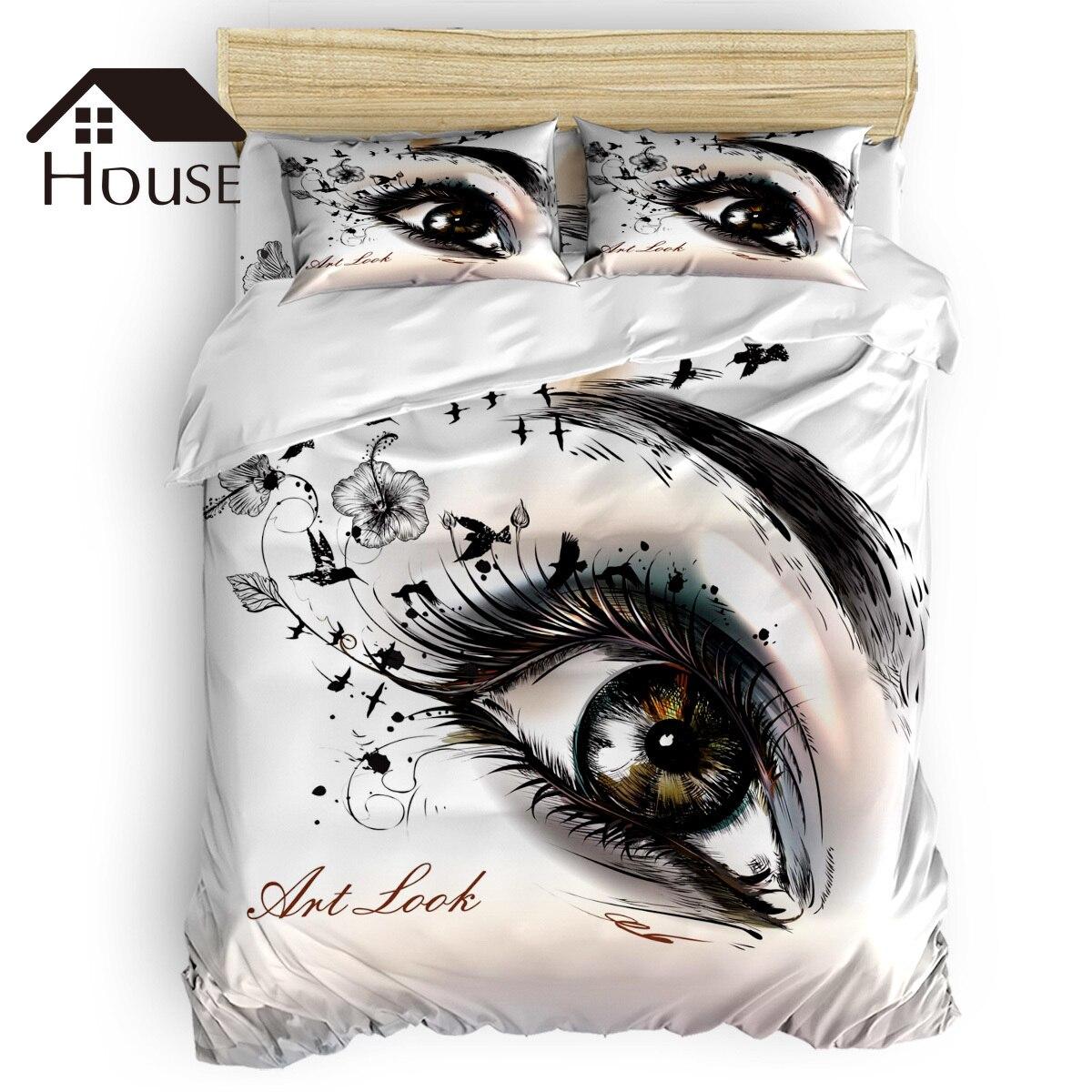 Eye femme Art beaux cils 4 pièces ensemble de literie moderne housse de couette ensemble décor de chambre