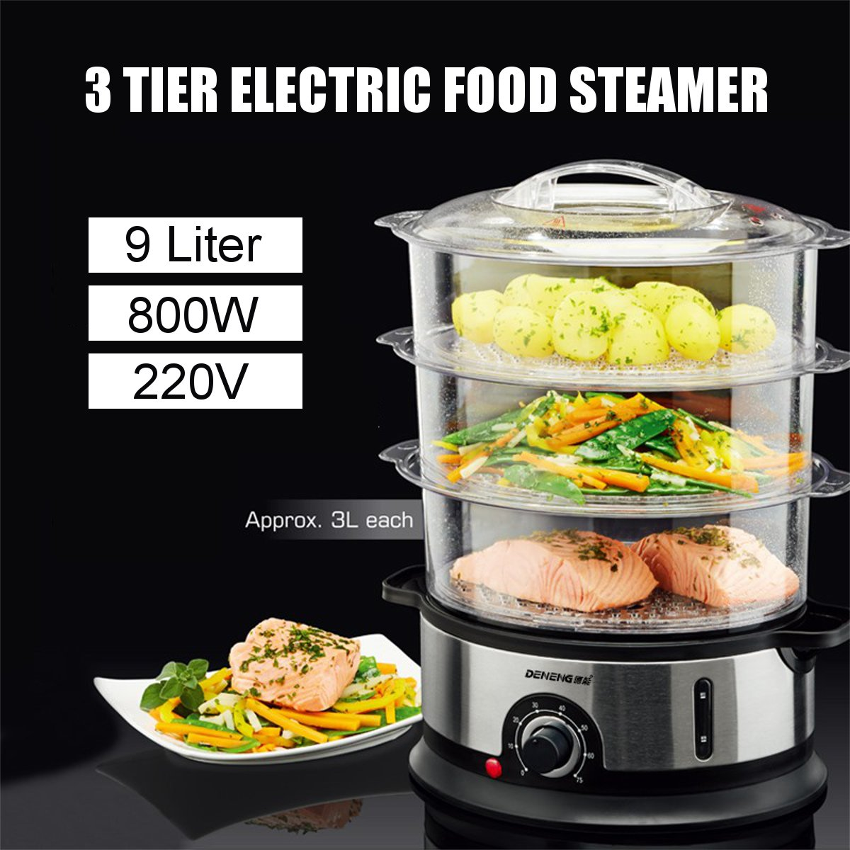 3 Tiers Electric Food Steamer 9L Timing Home Food Steamer Kitchen Fish Cooking Machine 220V 800W Vegetable Pot Cooker Tools