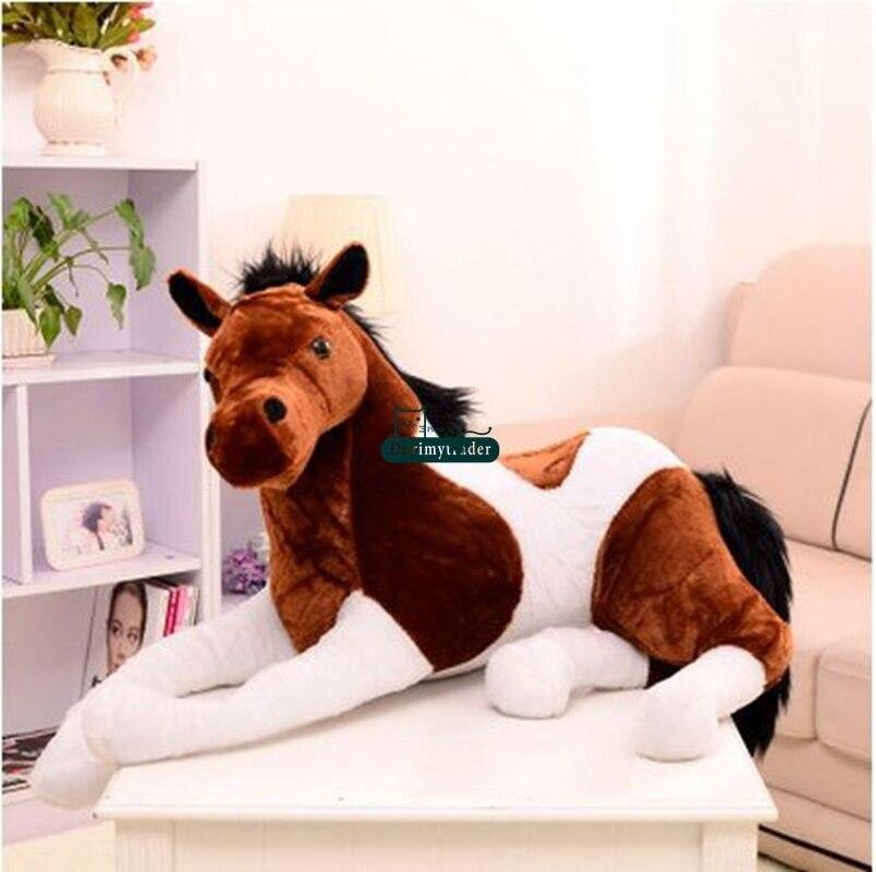 130cm X 60cm géant doux cheval en peluche émulationnel animaux en peluche jouets poupée cadeau mignon en peluche jouets point