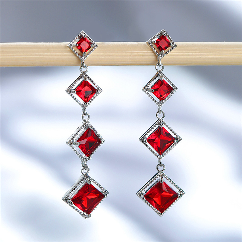 Classic Female Red Crystal Drop Earring Rose Gold Silver Color Dangle Earrings Luxury Rainbow Square Wedding Earrings For Women