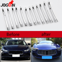 12pcs Front Central Grille Grill Molding Cover For Maserati Ghibli 2014-2017  Trim Bezel Accessories Bright Silver
