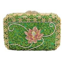 Luxury Green Flower Design Clutch Bags Women Prom boutique Bags formal Female Wedding Purse pochette Drop Shipping SM13(China)