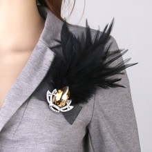 Fashion Jewelry Vintage Black Feather Crystal Crown Brooch Pin Party Fancy Costume Accessory(China)