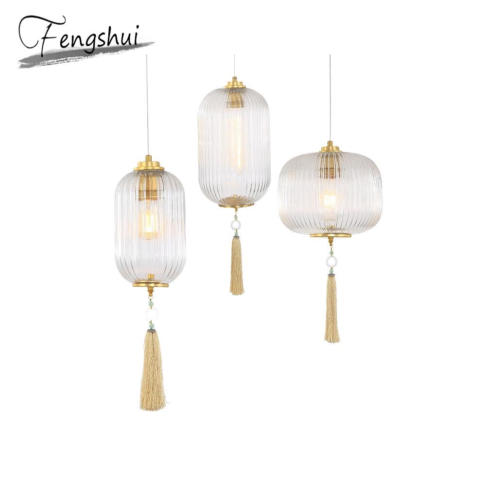 Chinese Style Glass Pendant Lights Lighting Lantern Pendant Lamp Dining Living Room Bedroom Restaurant Loft Decor Hanging Lamp
