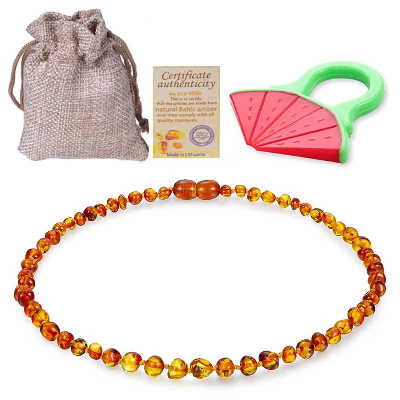Baltic Ambers Teething Necklace For Babies (Unisex) (Cognac) - Anti Flammatory,Natural Certificated Oval Baltic Jewelry 14-33cm(China)